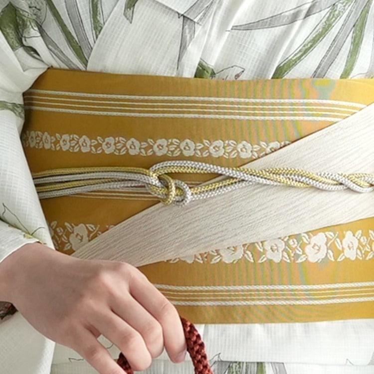 浴衣3点セット utatane 古典柄 レトロ アンティーク 系 向日葵 クリーム 系