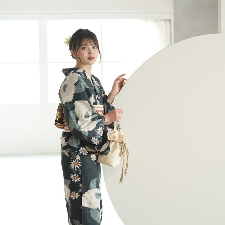 utatane 浴衣3点セット(F)変わり生地 大人 綺麗系 紫陽花 鉄紺系