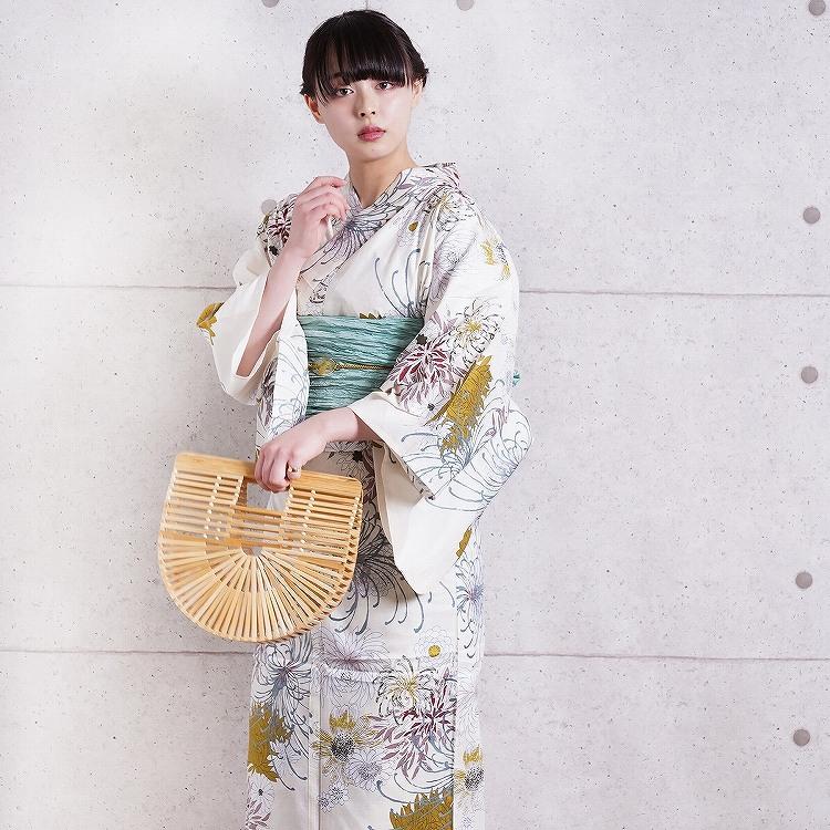 浴衣3点セット utatane 古典柄 レトロ アンティーク 系 糸菊 きなり 系