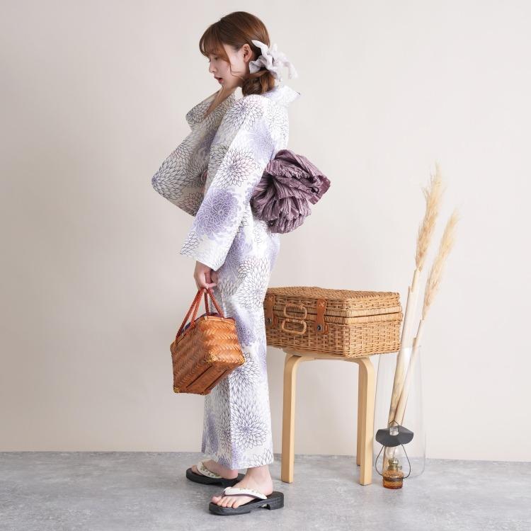 浴衣3点セット utatane 古典柄 レトロ アンティーク 系 菊 薄紫 系