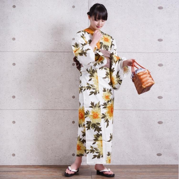 浴衣3点セット utatane 古典柄 レトロ アンティーク 系 向日葵 アイボリー 系