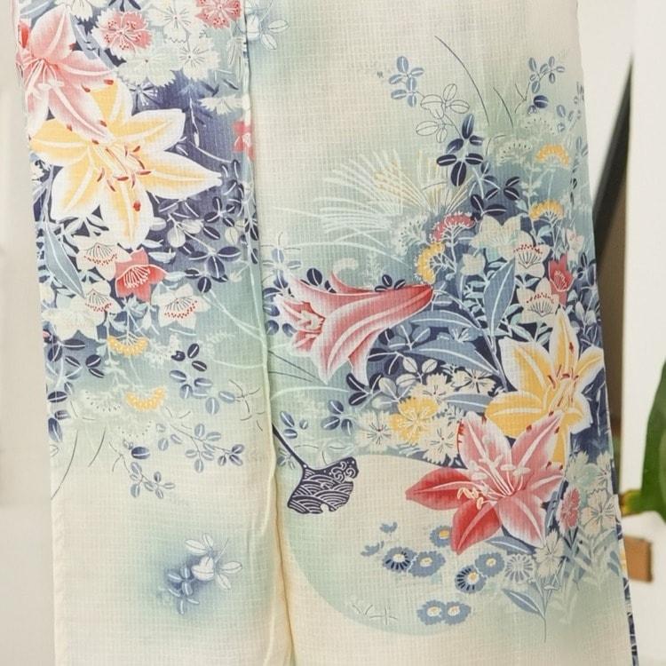 ニコアンティーク 浴衣3点セット(F)変わり生地 華やか 可愛い系 百合 ベージュ系