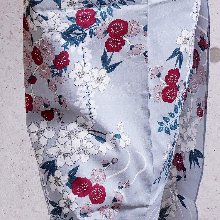 浴衣3点セット utatane しっとり大人 系 流水に梅と桜 ブルーグレー 系