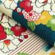 浴衣3点セット ニコアンティーク レトロモダン 系 矢絣 青緑 系