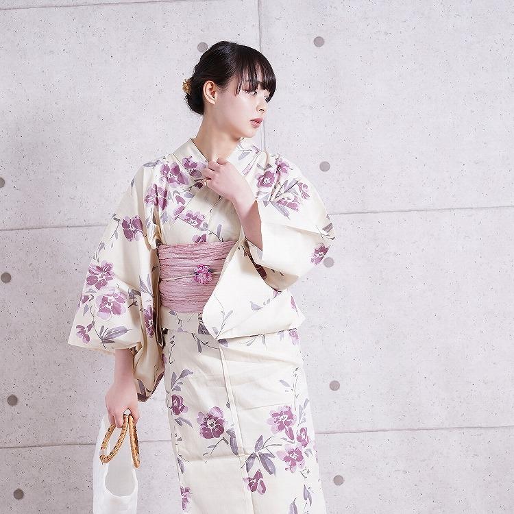 浴衣3点セット utatane 古典柄 レトロ アンティーク 系 花 ベージュ 系