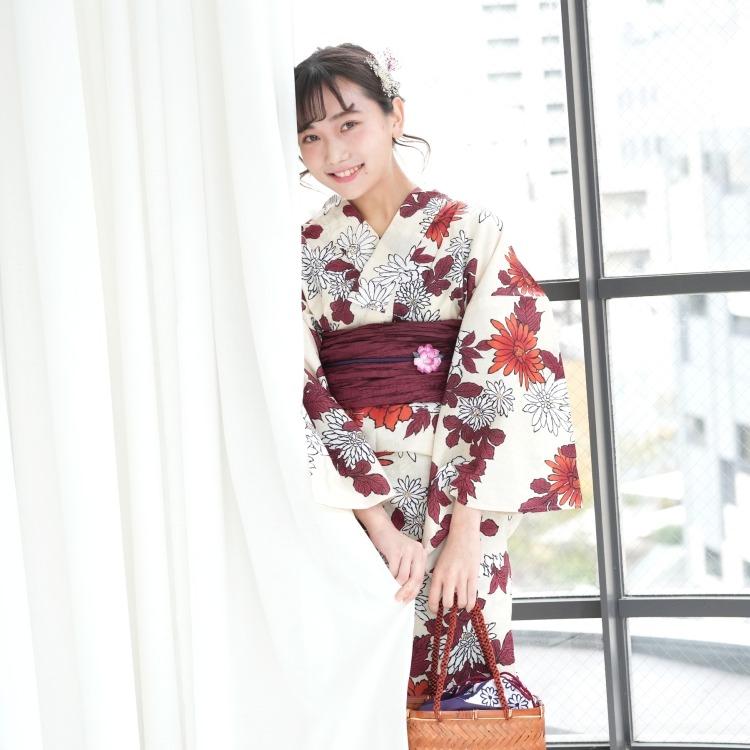 utatane 浴衣3点セット(F)変わり生地 古典柄 レトロ アンティーク系 菊 ベージュ系