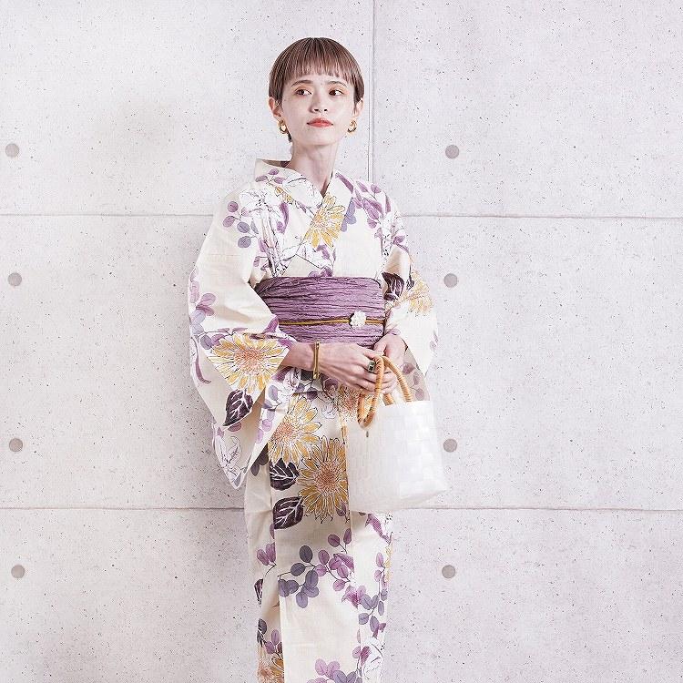 浴衣3点セット utatane 古典柄 レトロ アンティーク 系 向日葵 ベージュ 系