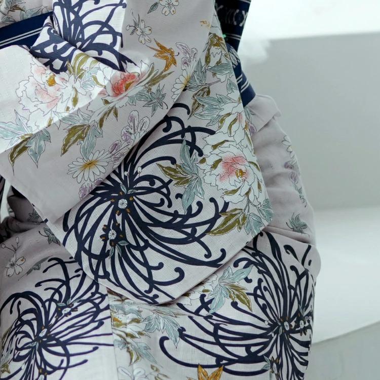 utatane 浴衣3点セット(F)変わり生地 古典柄 レトロ アンティーク系 糸菊 ピンクベージュ系