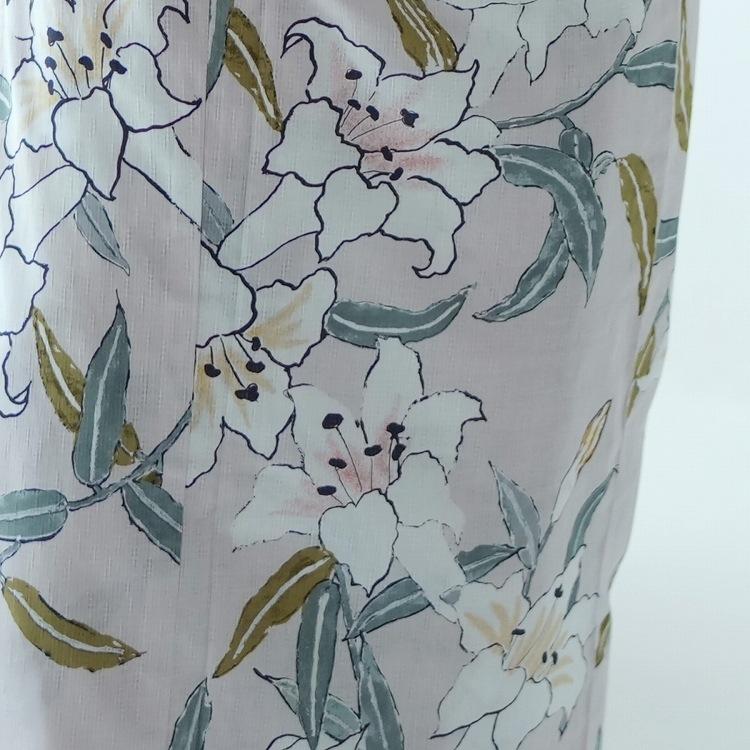 浴衣3点セット utatane 古典柄 レトロ アンティーク 系 百合 ピンクベージュ 系