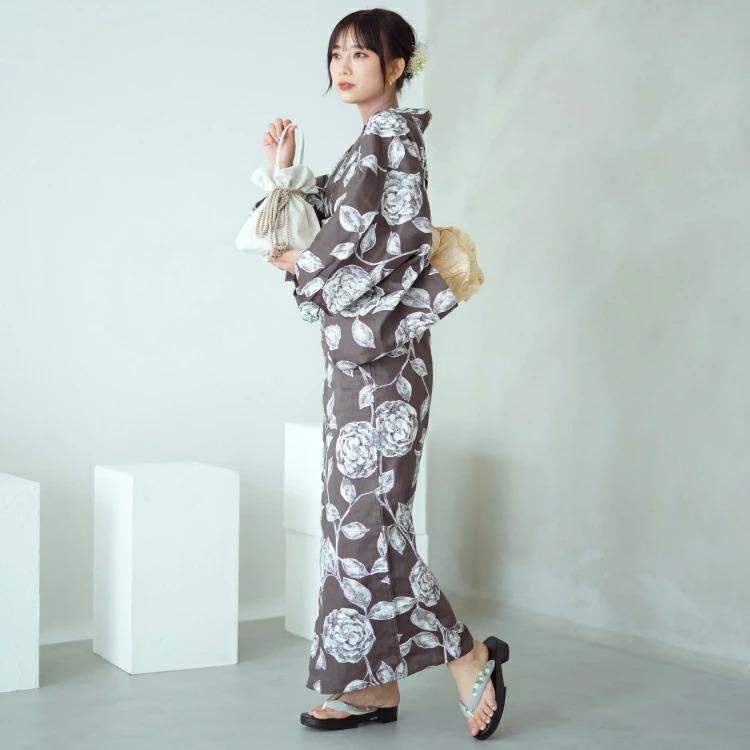 utatane 浴衣3点セット(F)変わり生地 クール シック モノトーン系 薔薇 濃茶系