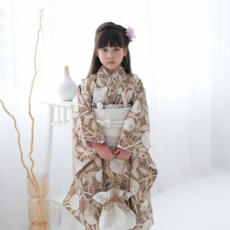 ひよこ商店 女児(7歳)七五三 着物はこせこセット 古典柄 レトロ アンティーク系 花 茶系