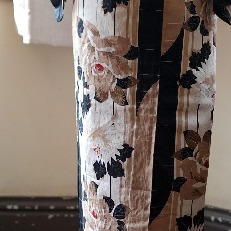 浴衣3点セット ニコアンティーク×モダンアンテナ クール シック モノトーン 系 バラ ベージュ 系