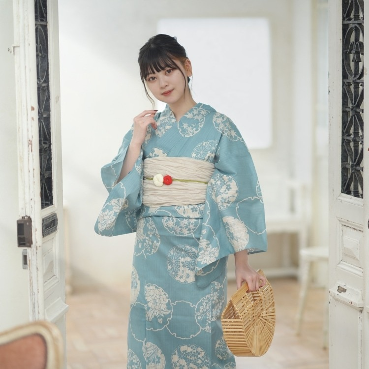 utatane 浴衣3点セット(F)変わり生地 古典柄 レトロ アンティーク系 雪輪 青系