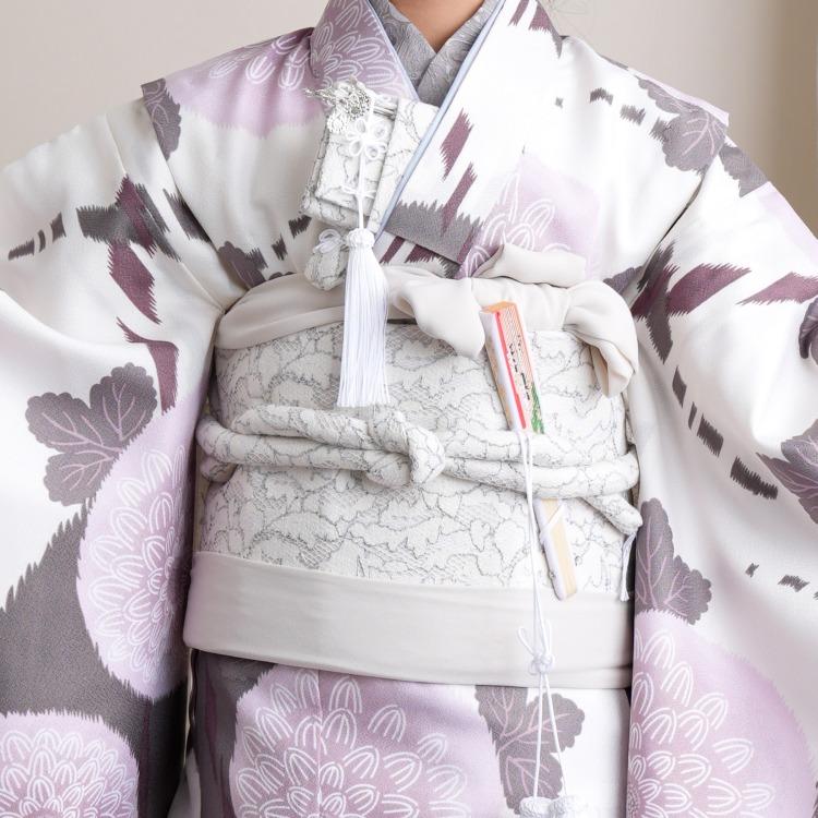 ひよこ商店 女児(7歳)七五三 着物はこせこセット 古典柄 レトロ アンティーク系 花 グレー系