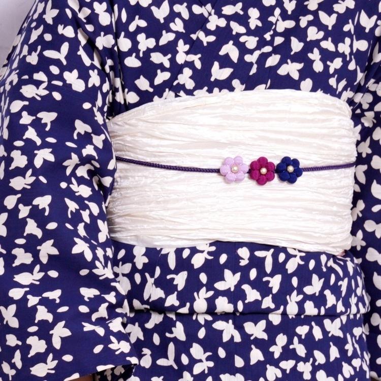浴衣3点セット つやび×雅姫 古典柄 レトロ アンティーク 系 小花 紺 系