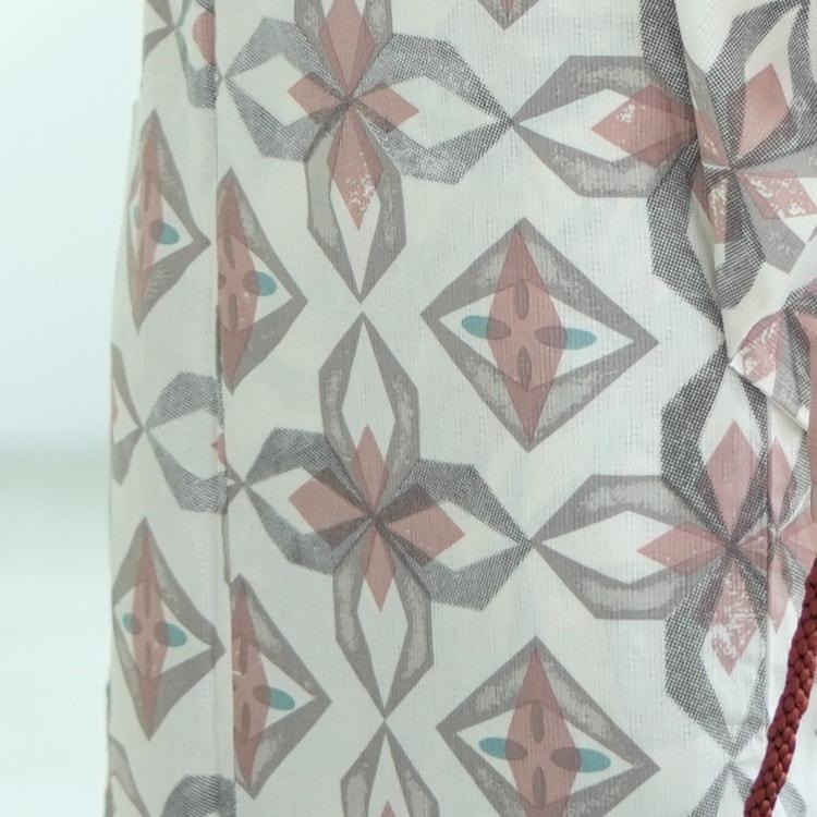 ニコアンティーク×モダンアンテナ 浴衣3点セット(S)変わり生地 幾何学 モダン系 プリズム オフ白系