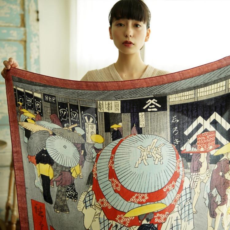 浮世絵 シルク スカーフ 90cm 歌川広重 日本橋   歌川広重 日本橋
