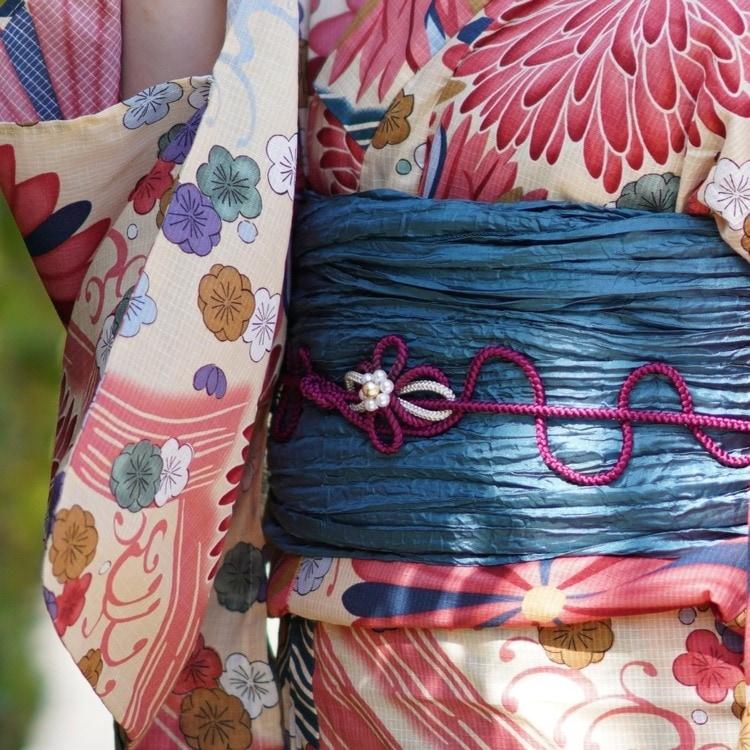 ニコアンティーク 浴衣3点セット(F)変わり生地 古典柄 レトロ アンティーク系 菊 ベージュ系
