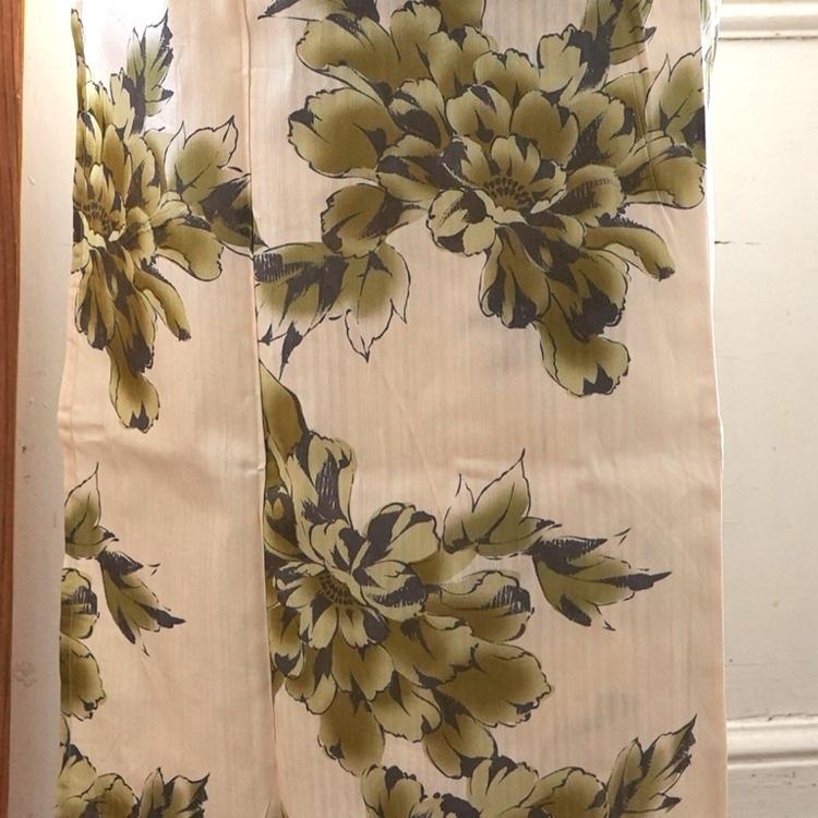 ニコアンティーク 浴衣3点セット(TL)変わり生地 しっとり大人系 菊 ベージュ系