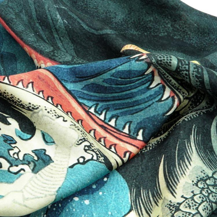 浮世絵 シルク スカーフ 90cm 歌川国芳 八郎潟   歌川国芳 八郎潟