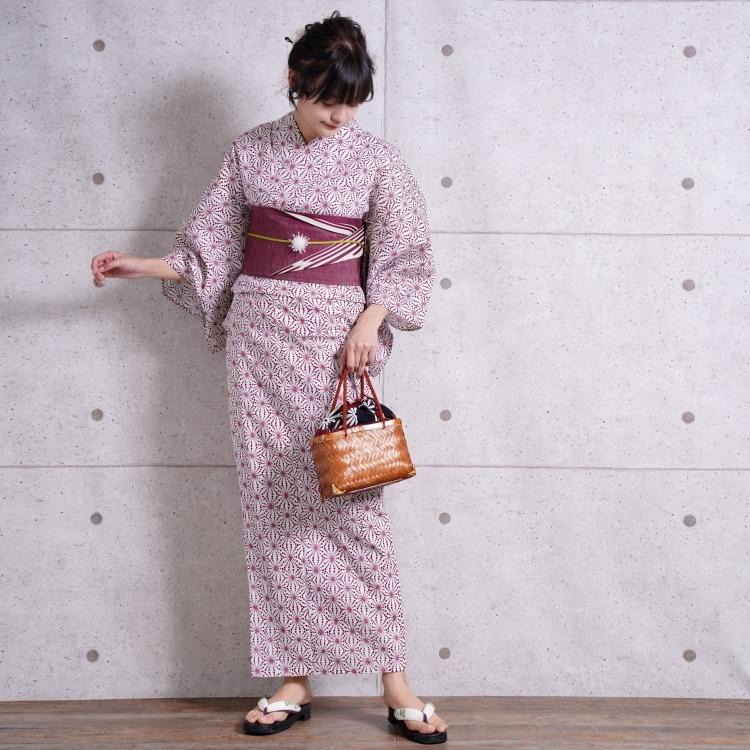 浴衣3点セット つやび×雅姫 古典柄 レトロ アンティーク 系 幾何学 赤 系