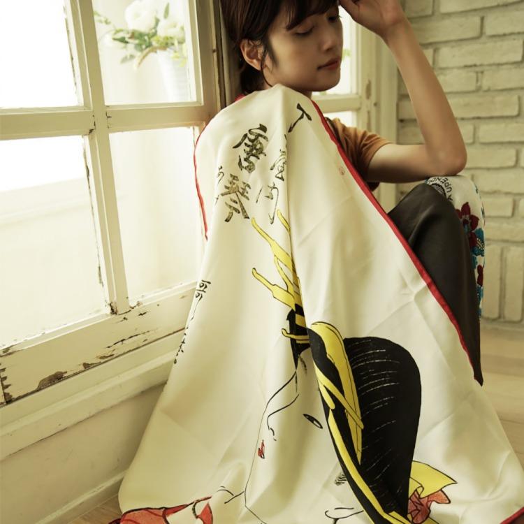 浮世絵 シルク スカーフ 90cm 喜多川歌麿 丁小屋唐   喜多川歌麿 丁小屋唐