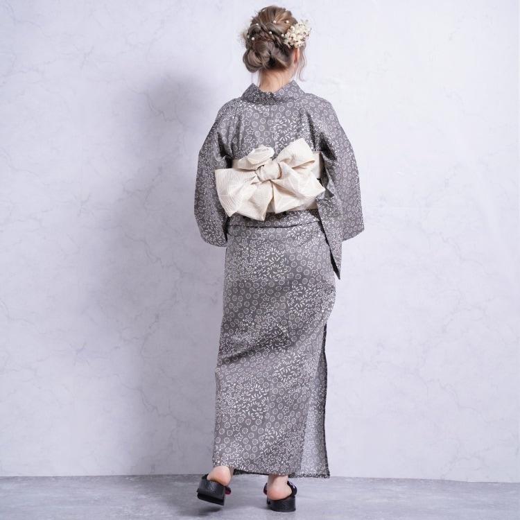 浴衣3点セット つやび×雅姫 レトロモダン 系 小花 グレー 系
