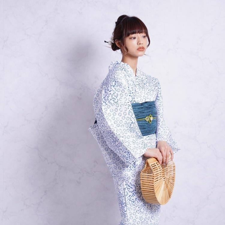浴衣3点セット つやび×雅姫 レトロモダン 系 小花 青 系