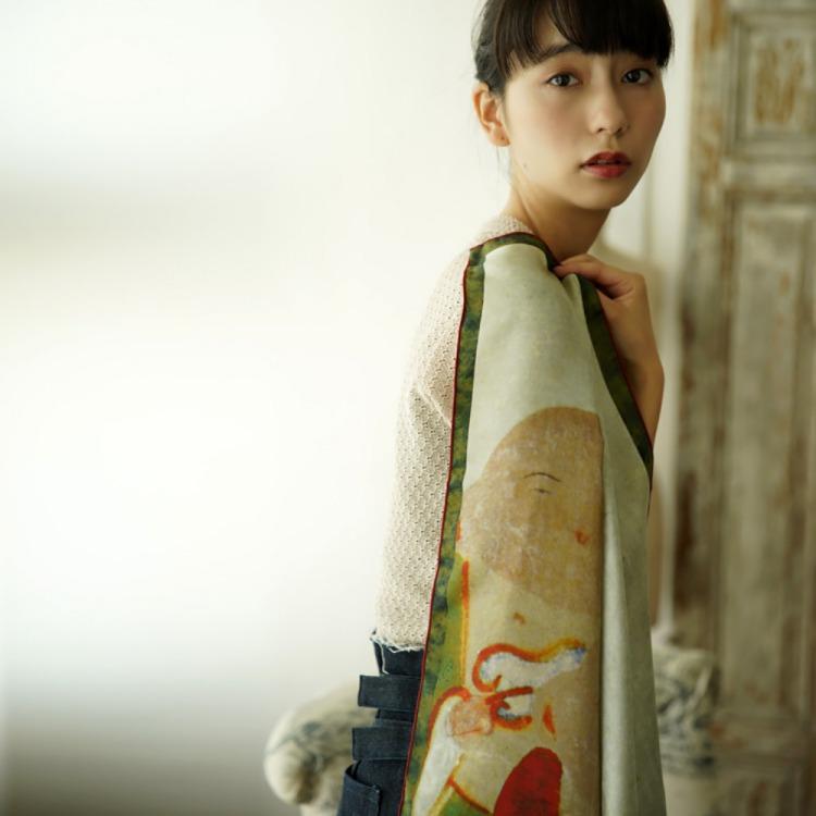 浮世絵 シルク スカーフ 90cm 伊藤若冲 夜明け鶏   伊藤若冲 夜明け鶏