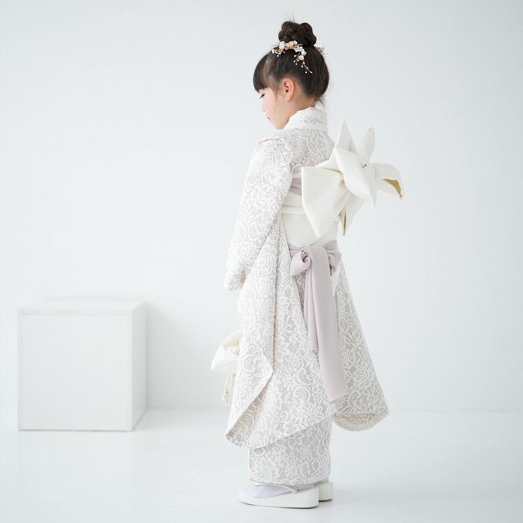 utatane 女児(7歳)七五三 着物はこせこセット レトロモダン 系 レース 白系
