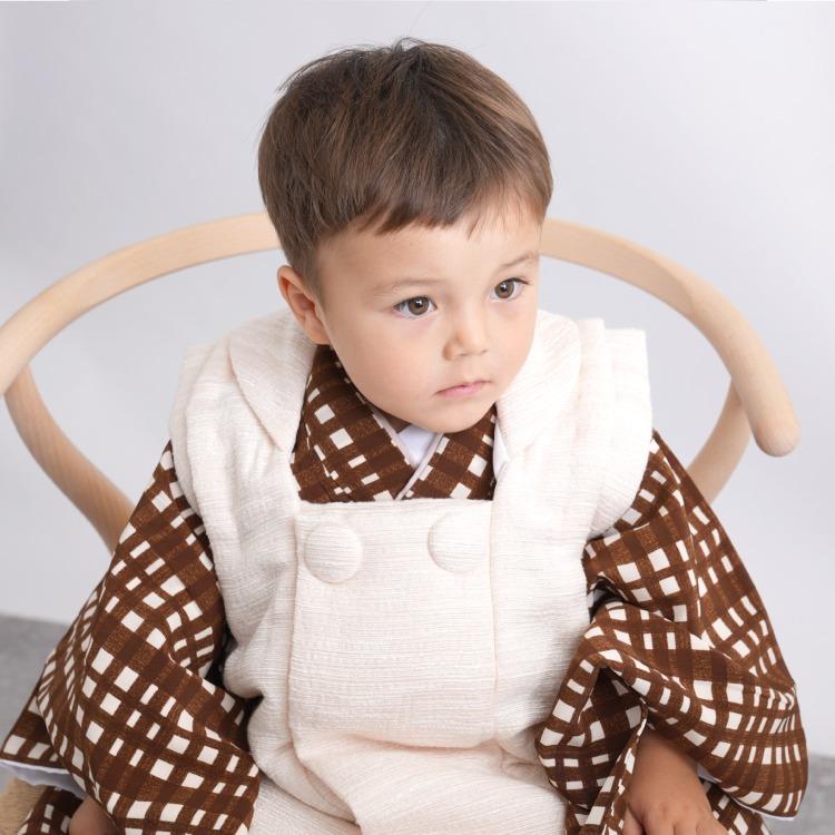 utatane 男児(3歳)七五三 着物 被布セット レトロモダン 系 ギンガムチェック 茶系