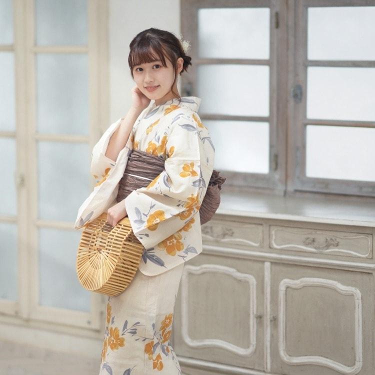 utatane 浴衣3点セット(F)変わり生地 華やか 可愛い系 花 ベージュ系
