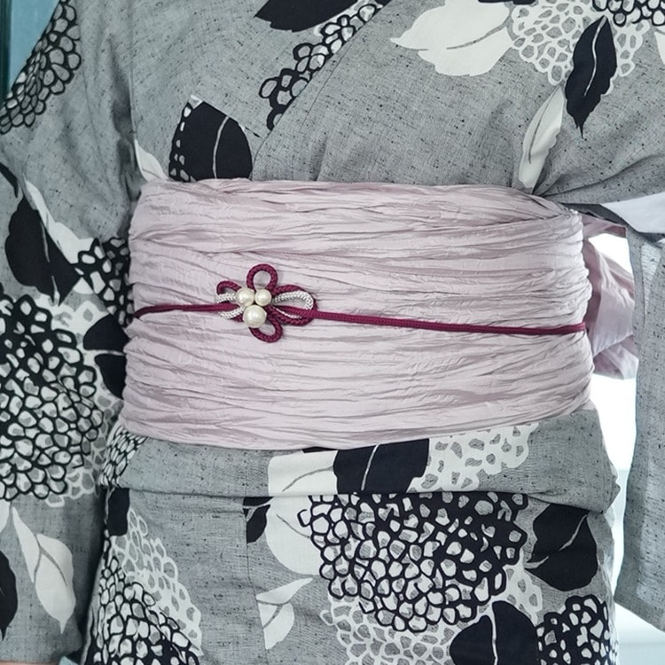 utatane 浴衣3点セット(F)注染-本染め 古典柄 レトロ アンティーク系 紫陽花 グレー系