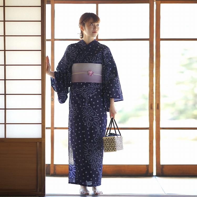 浴衣3点セット utatane 有松絞り 古典柄 レトロ アンティーク 系 花柄 紺 系