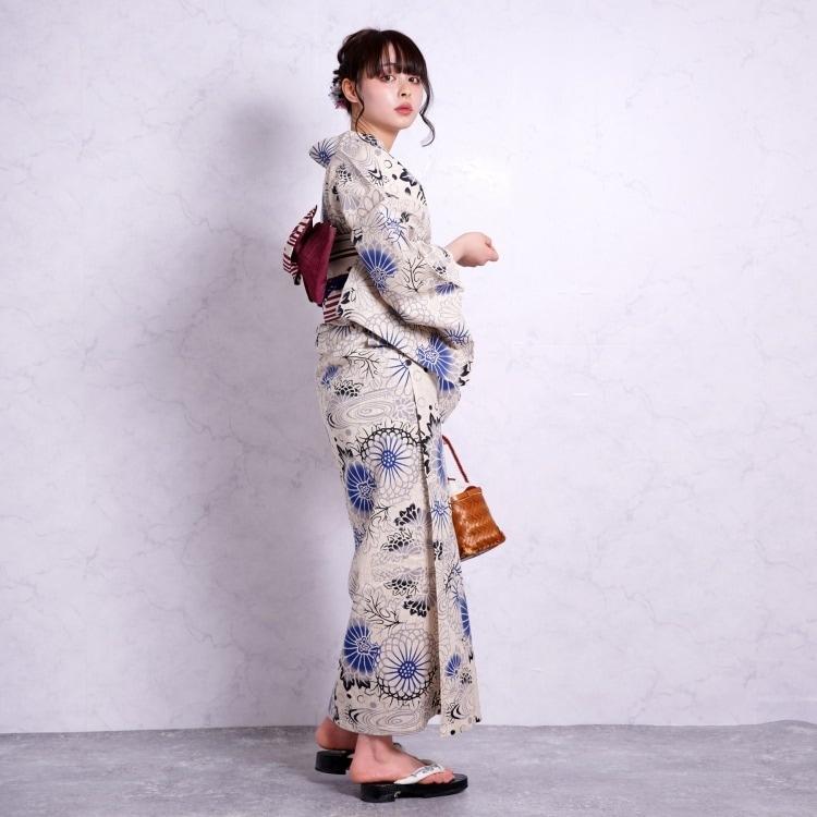 龍村美術きもの 浴衣3点セット(F)注染-本染め しっとり大人系 菊 ベージュ系