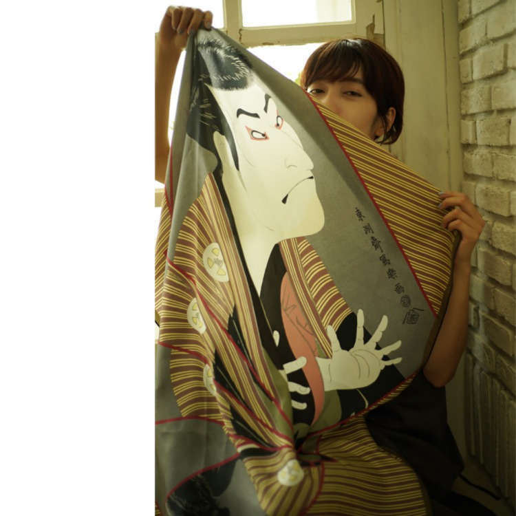 浮世絵 シルク スカーフ 90cm 歌川国芳 野晒悟助   歌川国芳 野晒悟助
