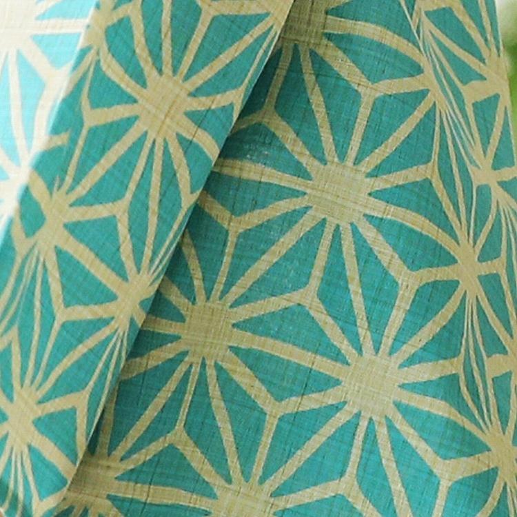 浴衣3点セット  古典柄 レトロ アンティーク 系 麻の葉 水色 系