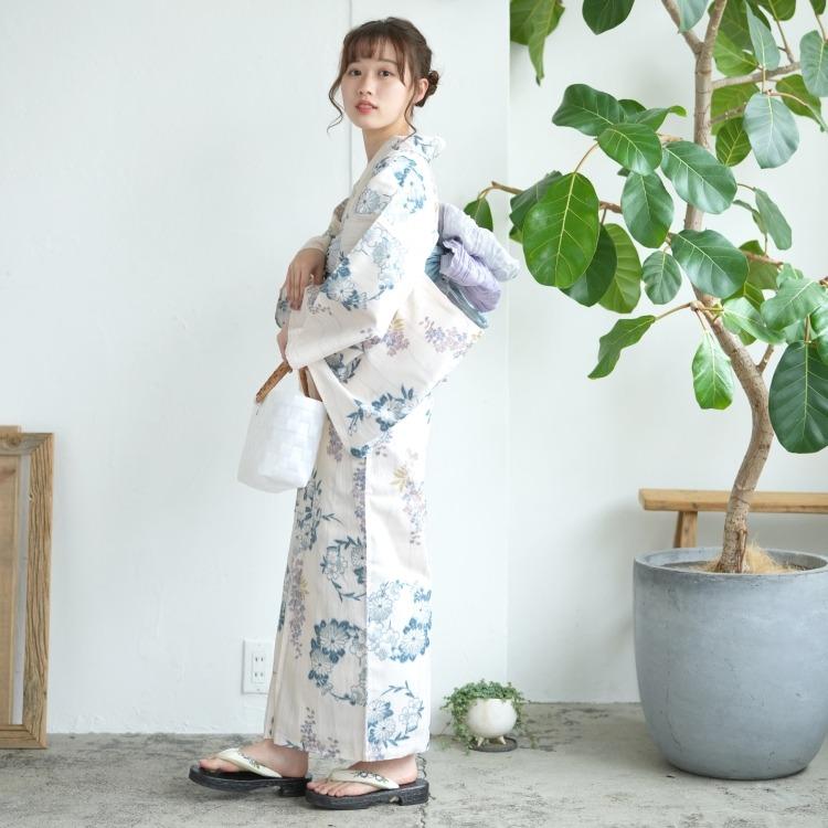 utatane 浴衣3点セット F寸  (浴衣/帯/下駄) 古典柄 レトロ アンティーク 系 花 ベージュ 系