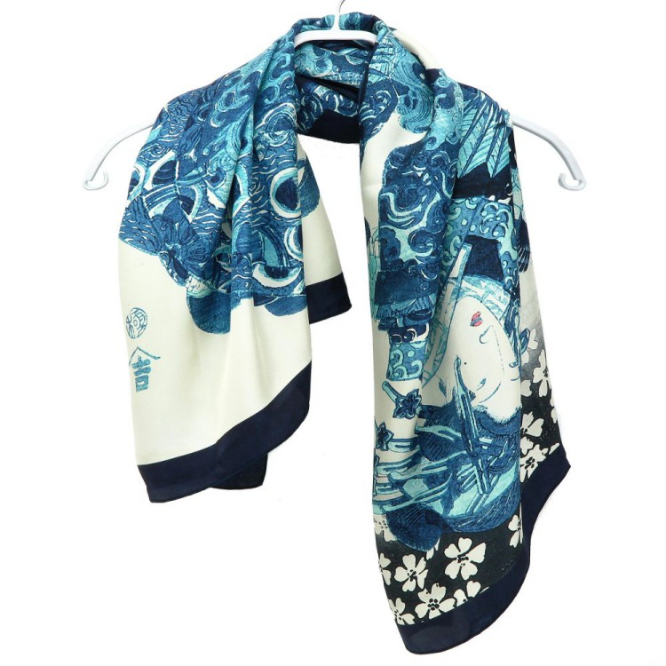 浮世絵 シルク スカーフ 90cm 歌川国貞 松葉屋   歌川国貞 松葉屋