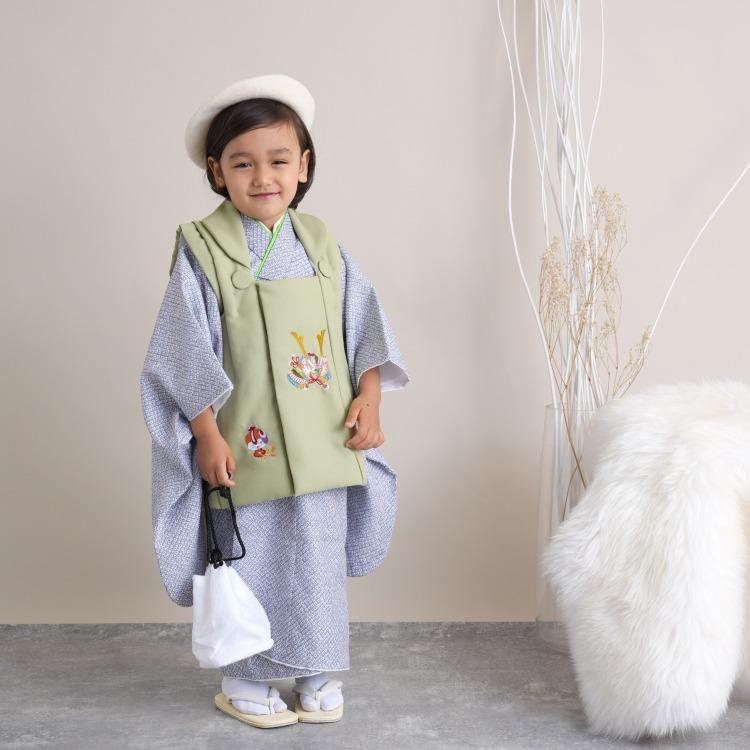 男児(3歳)七五三 着物 被布セット 古典柄 レトロ アンティーク系 疋田 グレー系