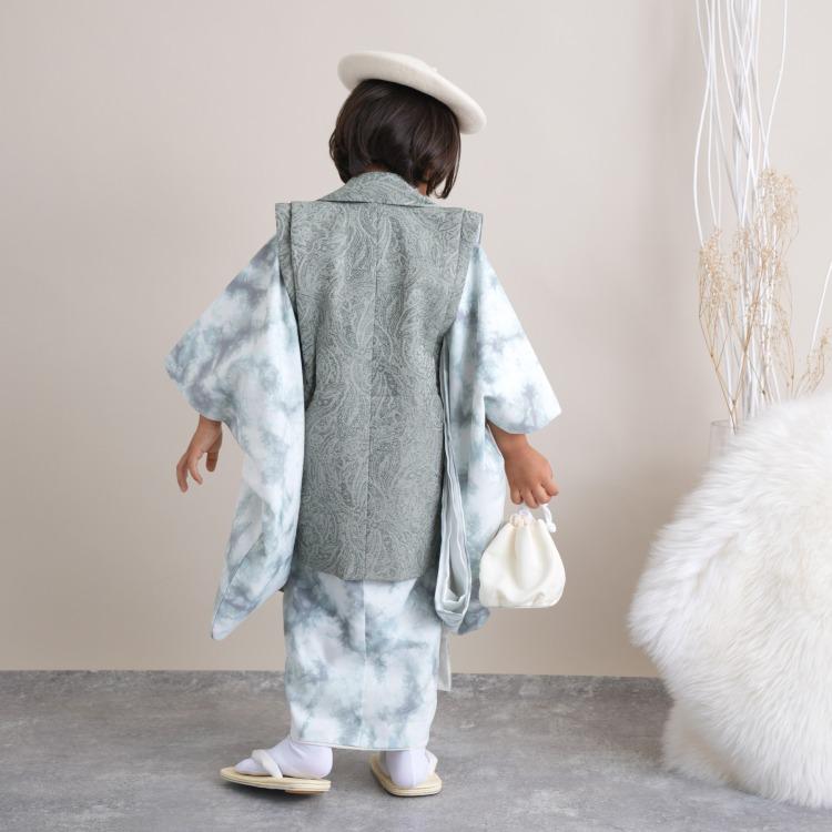 男児(3歳)七五三 着物 被布セット 古典柄 レトロ アンティーク系 タイダイ 青系