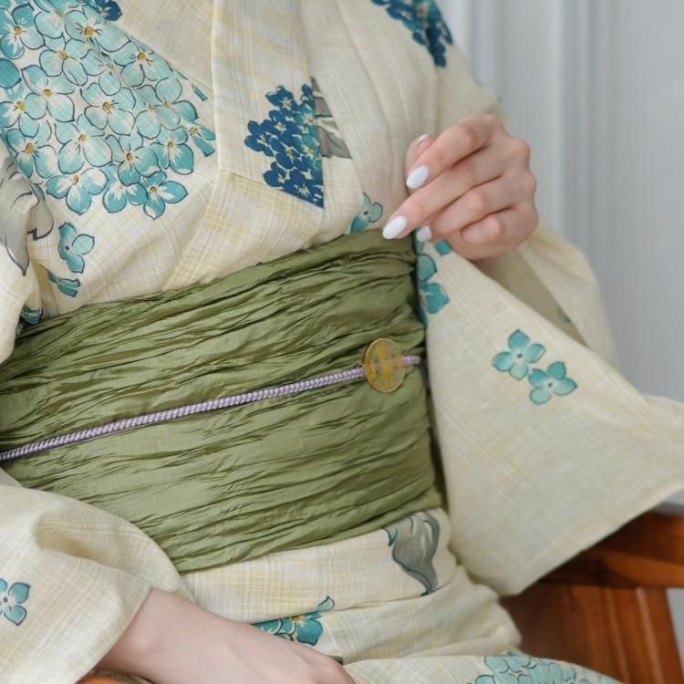 浴衣3点セット  古典柄 レトロ アンティーク 系 あじさい ベージュ 系