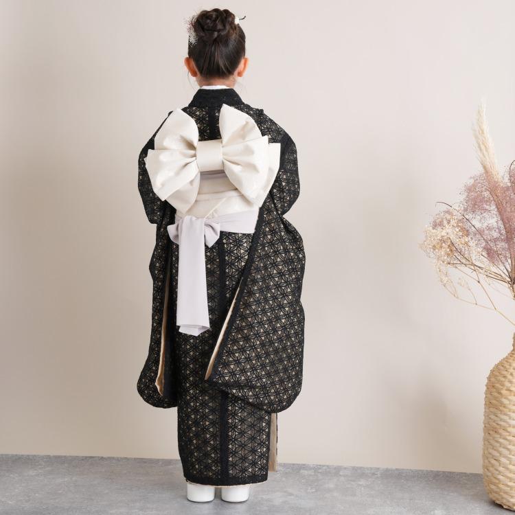 utatane 女児(7歳)七五三 着物はこせこセット レトロモダン 系 レース 黒系
