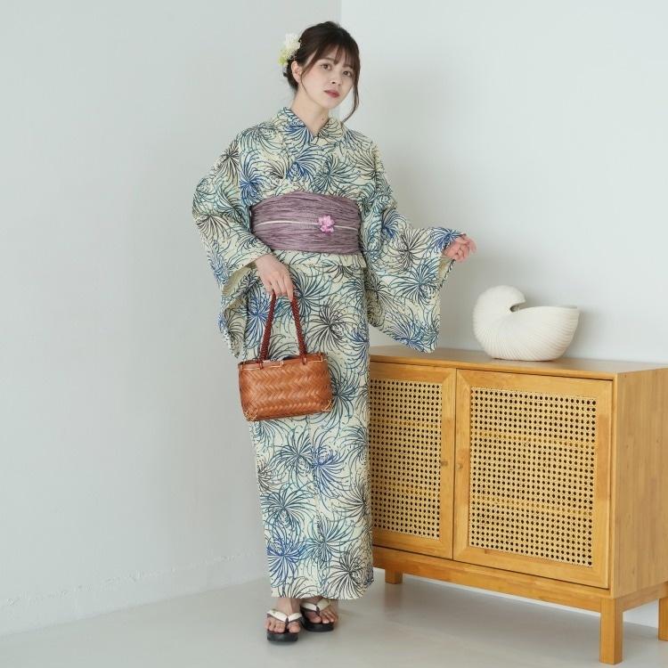 浴衣3点セット  古典柄 レトロ アンティーク 系 糸菊 ベージュ 系