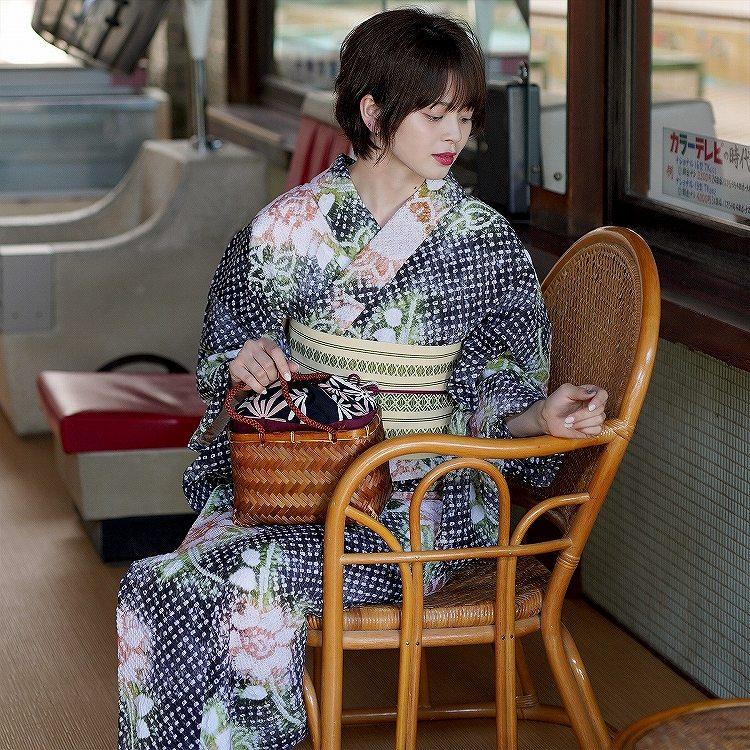 浴衣3点セット utatane 有松絞り 古典柄 レトロ アンティーク 系 向日葵 黒 系