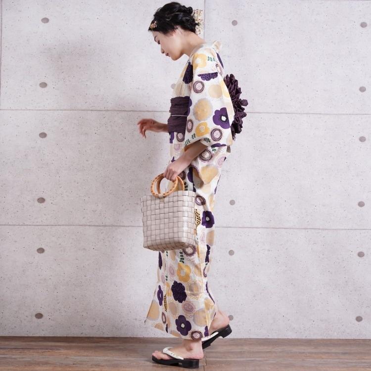 浴衣3点セット utatane 古典柄 レトロ アンティーク 系 花柄 きなり 系