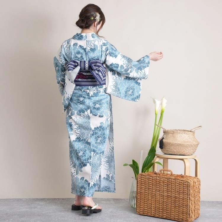 utatane 浴衣3点セット(F)変わり生地 古典柄 レトロ アンティーク系 花 きなり系