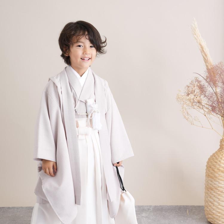 utatane 男児(5歳)七五三 着物 袴セット 古典柄 レトロ アンティーク系 無地 ベージュ系