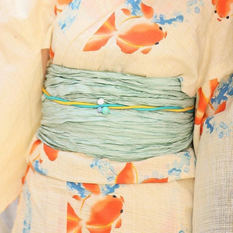 浴衣3点セット  古典柄 レトロ アンティーク 系 金魚 ベージュ 系