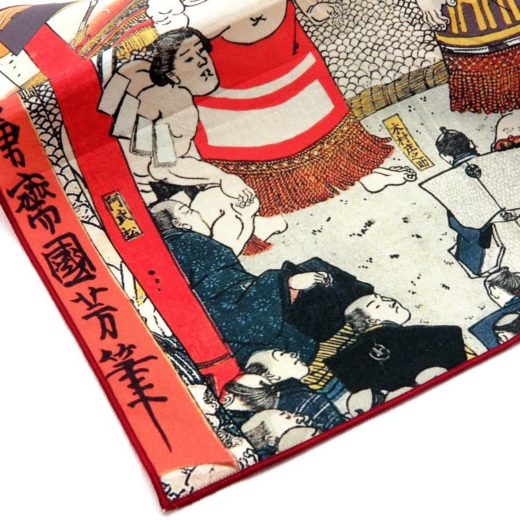 浮世絵 ハンカチ 35cm 歌川国芳 歓心大相撲   歌川国芳 歓心大相撲